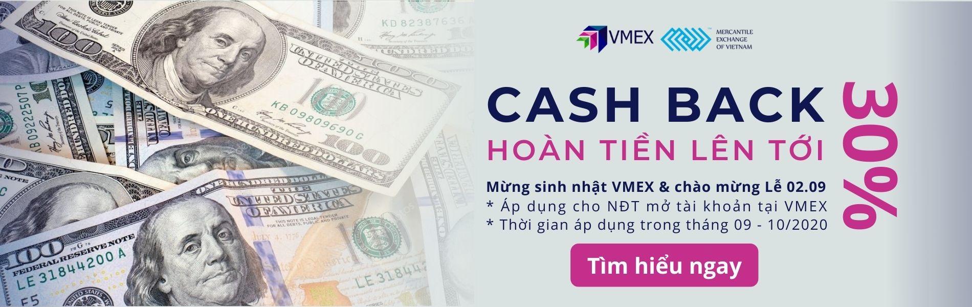 vmex cash back hoàn phí giao dịch